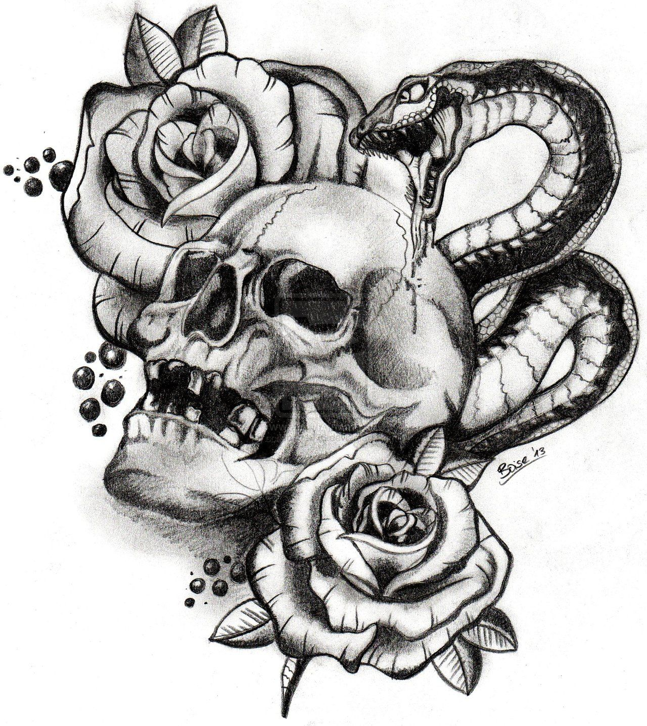 Evil skull Drawings with gun skull and snake by boise by