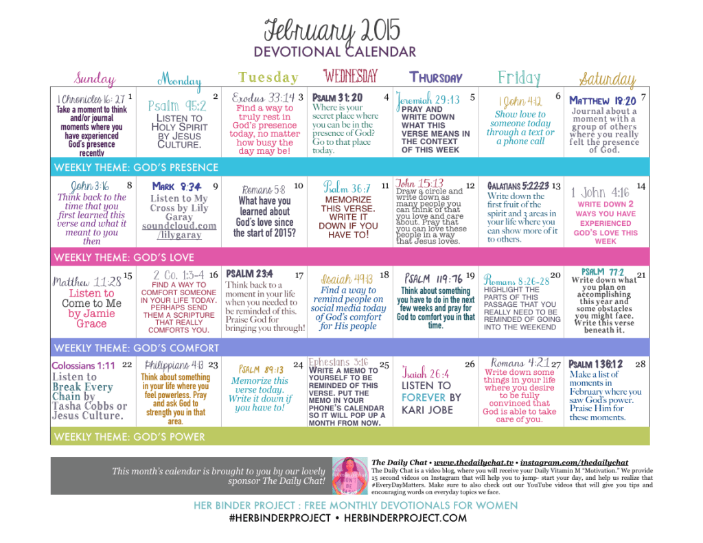 February Free Devotional Calendar At Her Binder
