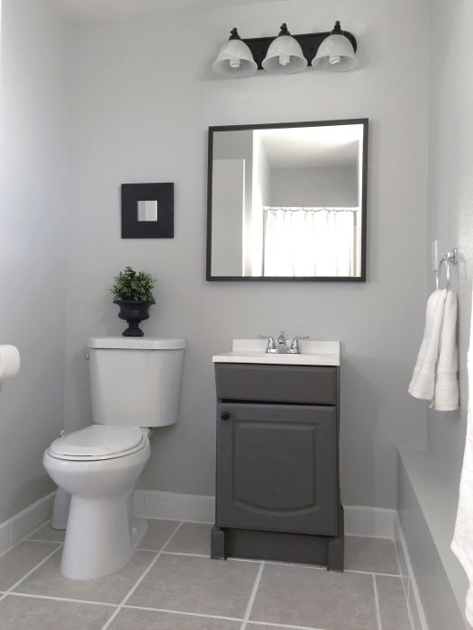 Small Garage Bathroom Painted Vanity Wall Behr Dolphin Fin Gray