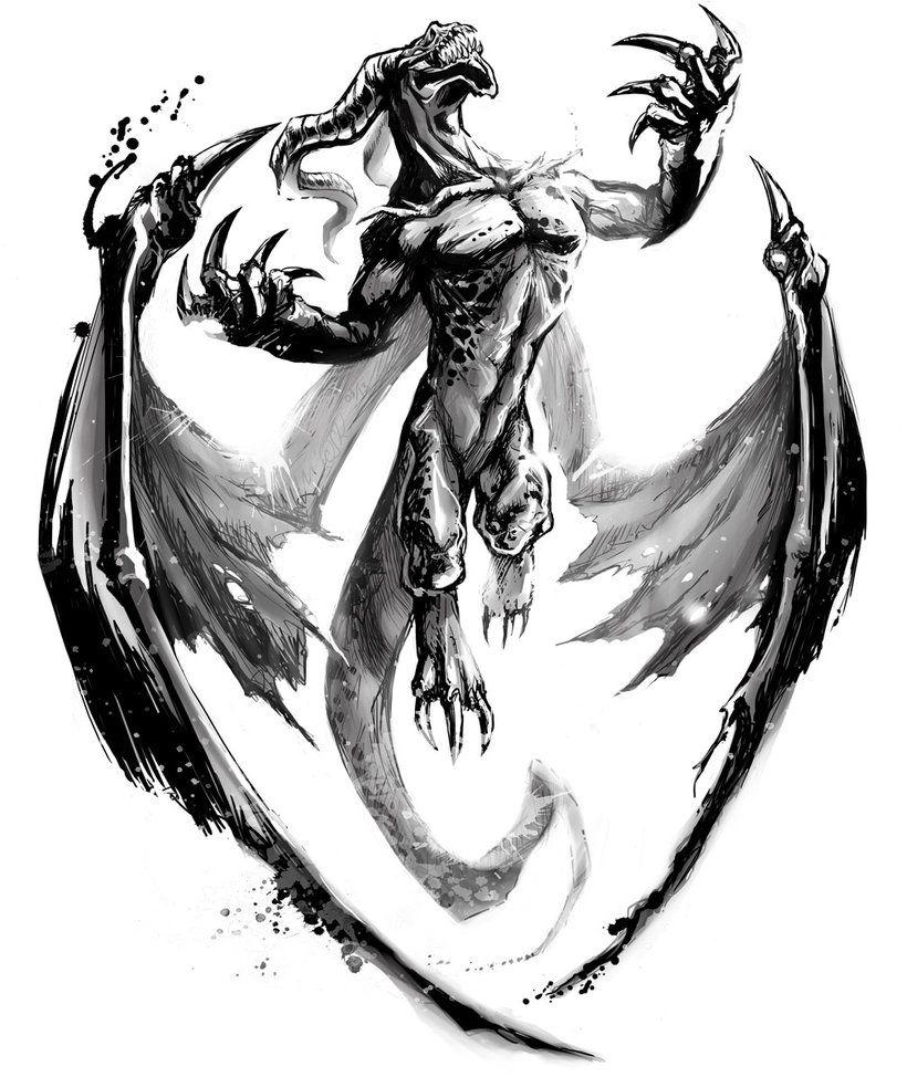 Dragon tattoo Winged Dragon Tattoo Drawings