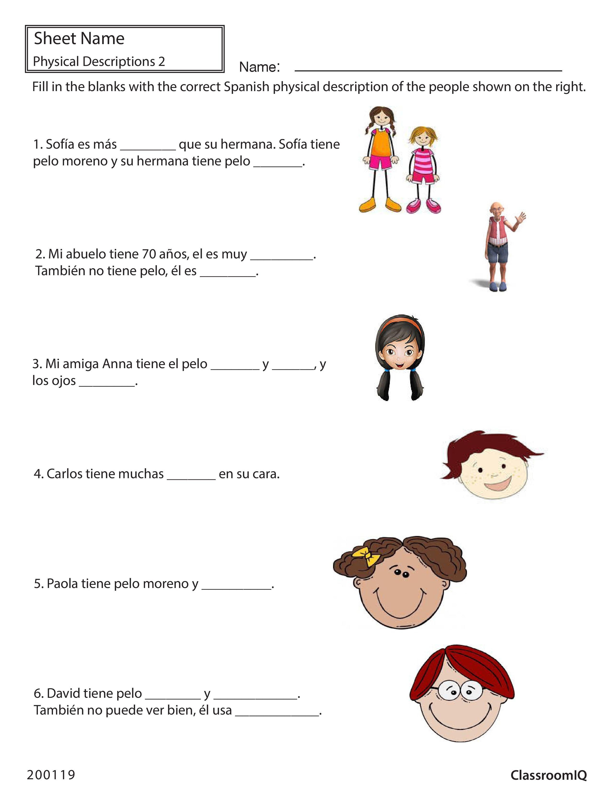 Spanish Physical Descriptions Classroomiq