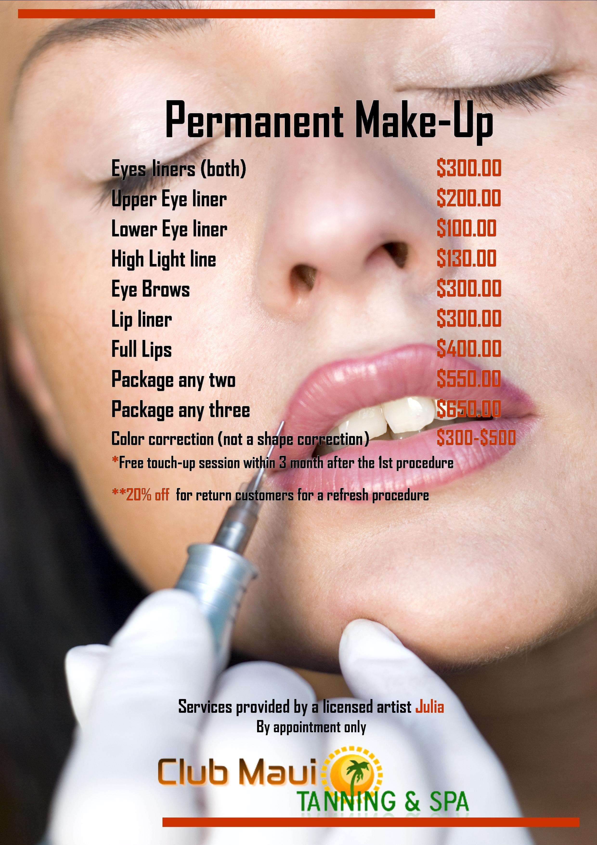 Club Maui Tanning & Spa Permanent Makeup price list