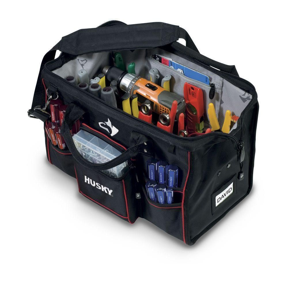 Husky 18 in large mouth bag with tool wall gloves bag