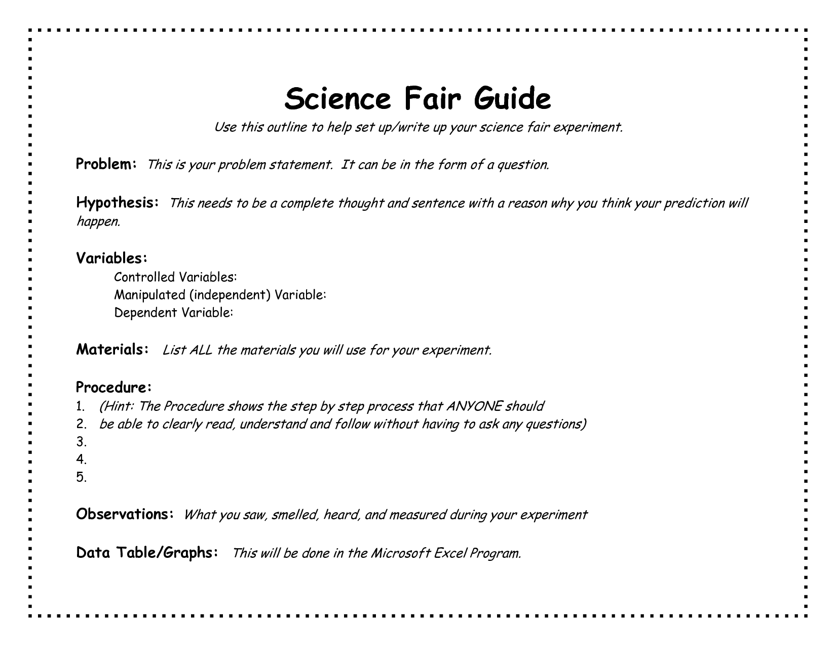 Science Fair Project Outline Template