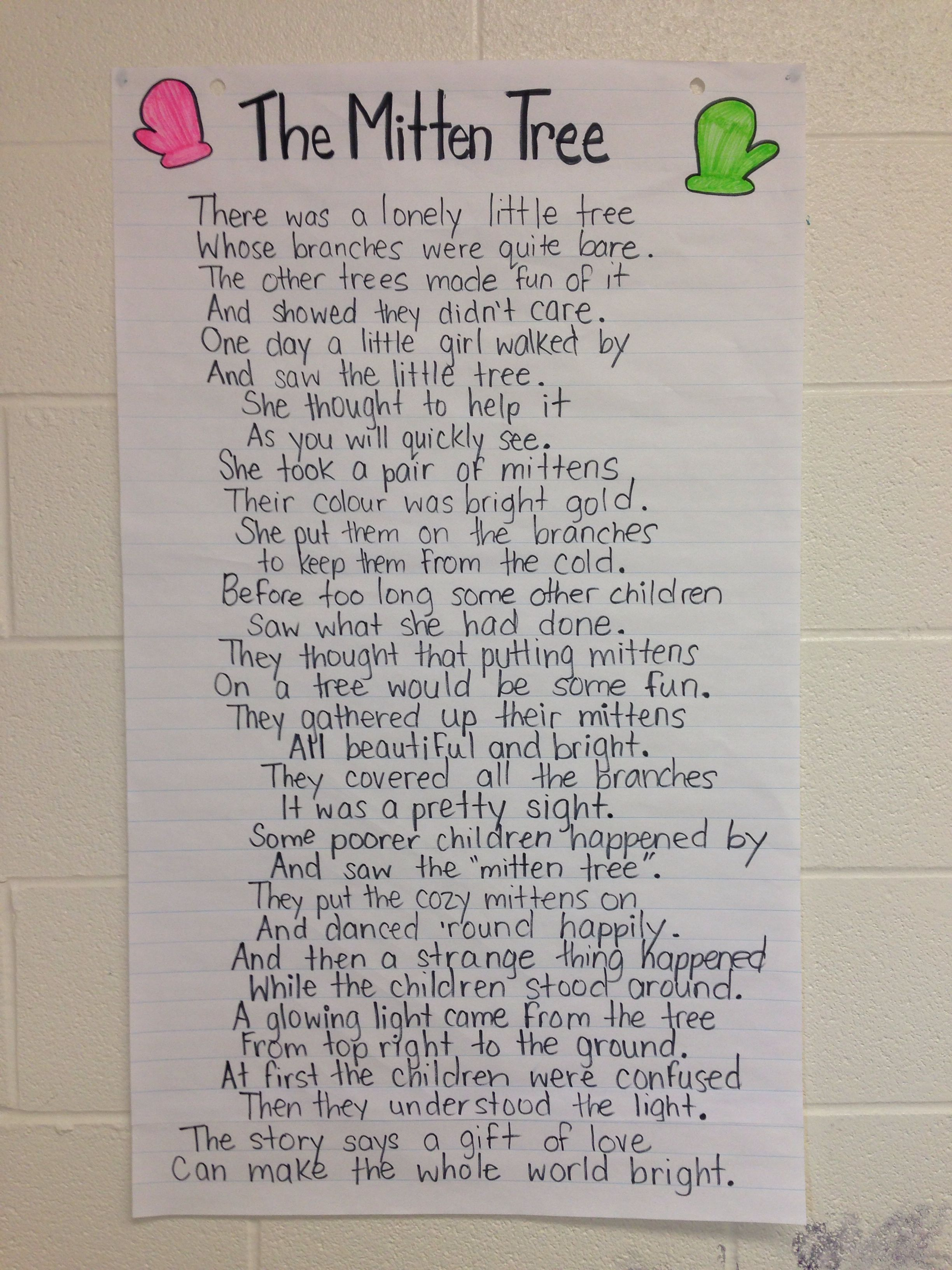 The Mitten Tree Poem