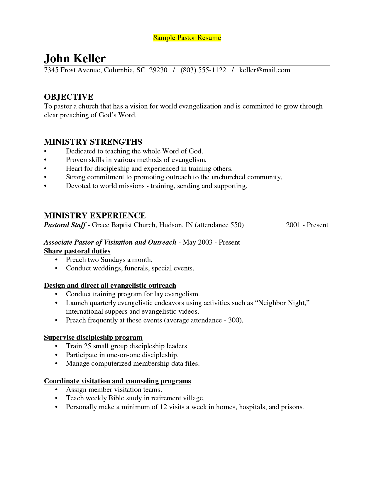 sample pastor resume template sample pastoral resume sample resume for pastors
