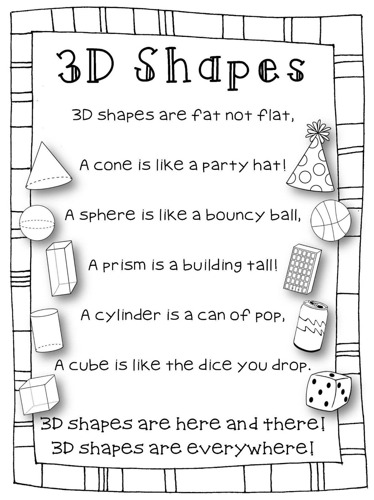 Shape Poems On Pinterest Shape Songs Preschool Classroom Themes And Shape Activities