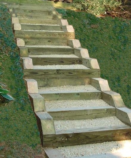 Pressure Treated Timber And Gravel Stairs Yard Ideas | Pressure Treated Wood Steps