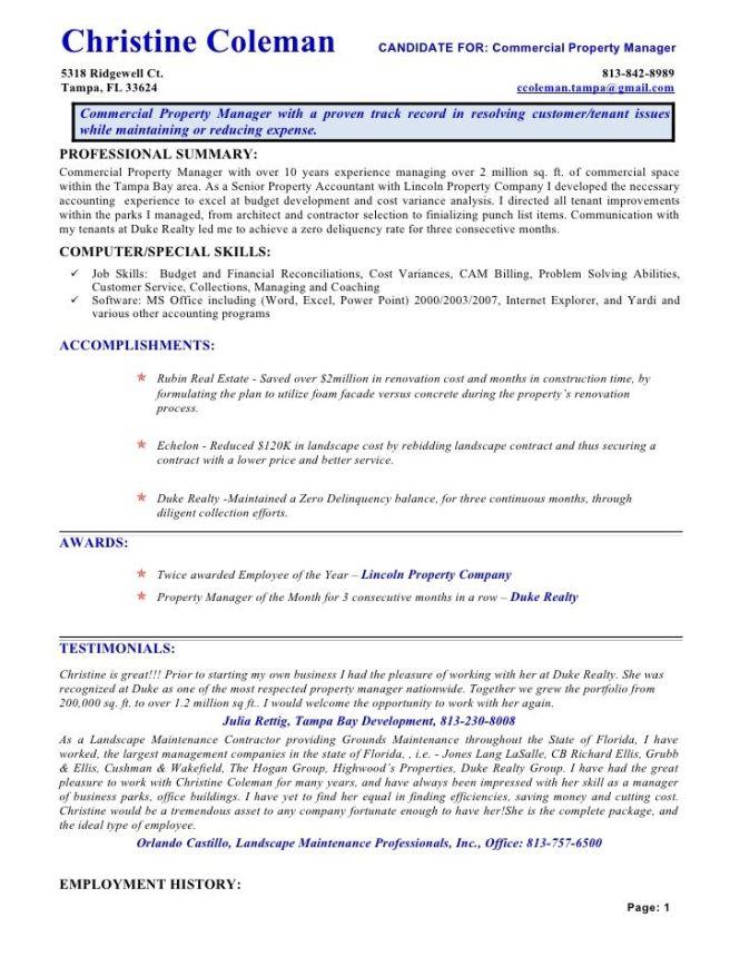 property management resume keywords resume sample