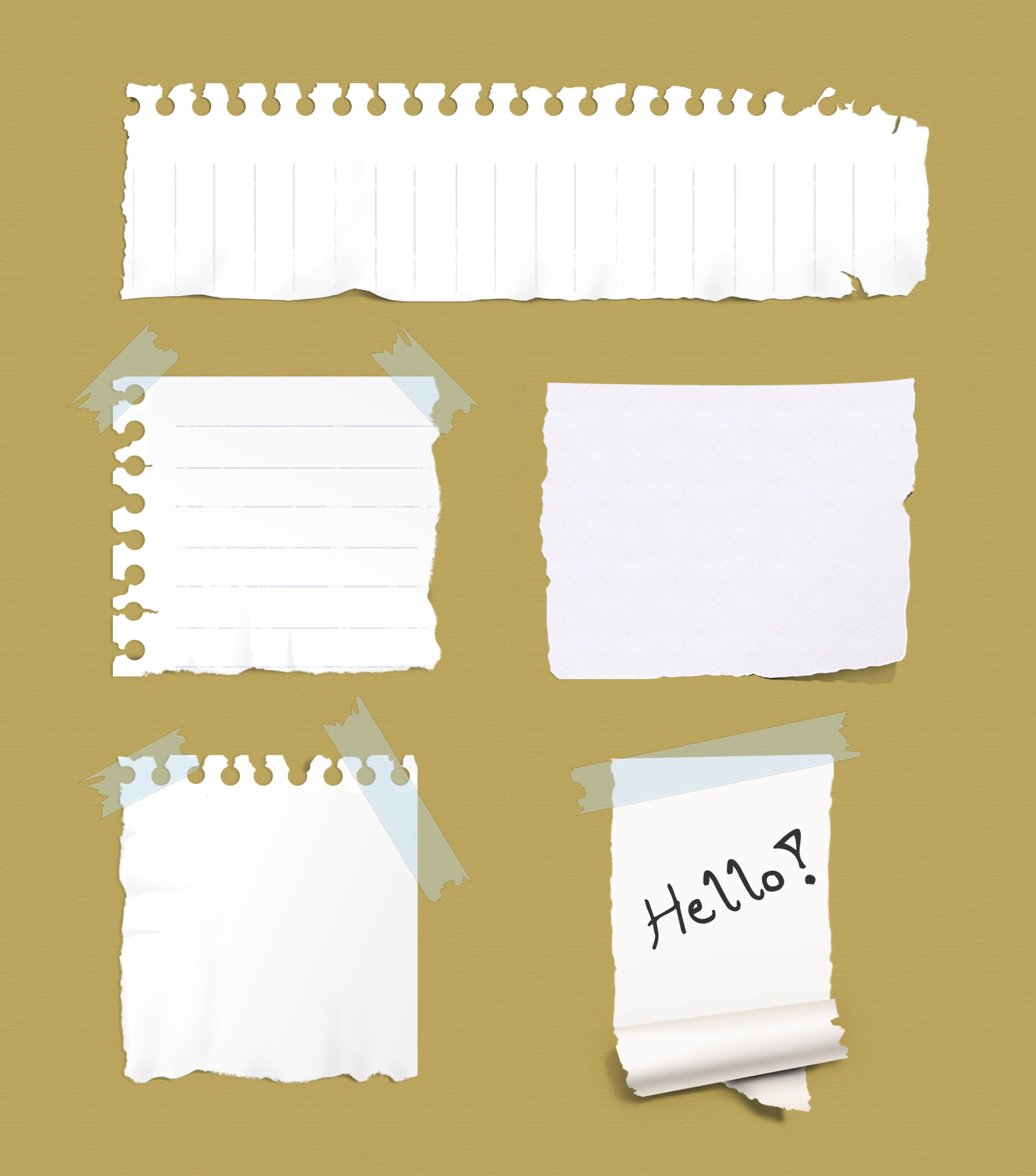 5 Ripped Paper Notes [PSD File] adhesive, announcement