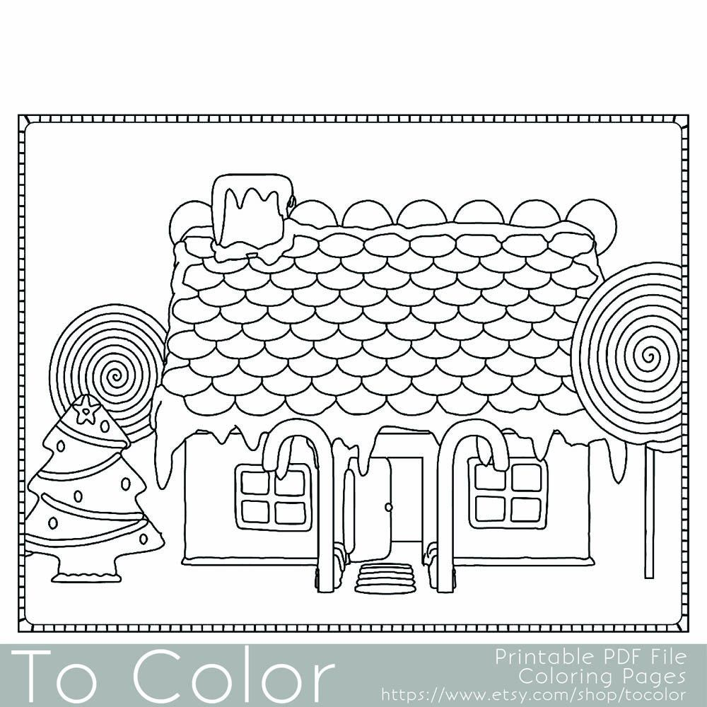 Christmas Coloring Page For Adults Gingerbread House Coloring