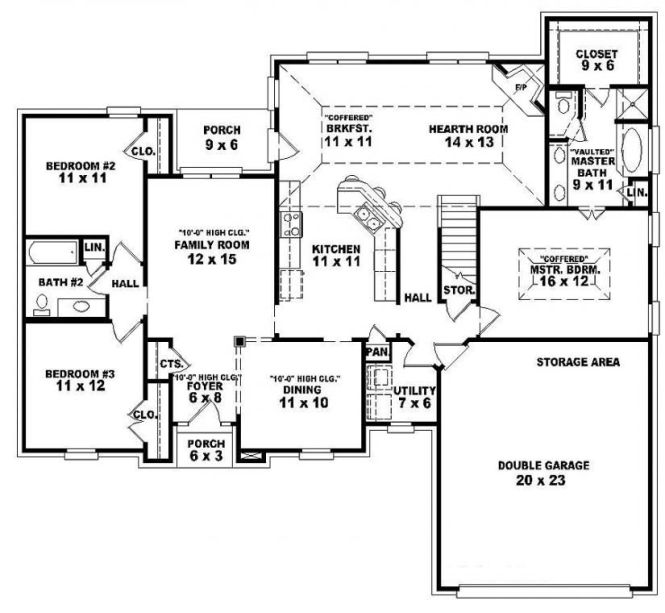 Single Story Open Floor Plans One 3 Bedroom 2 Bath French Traditional