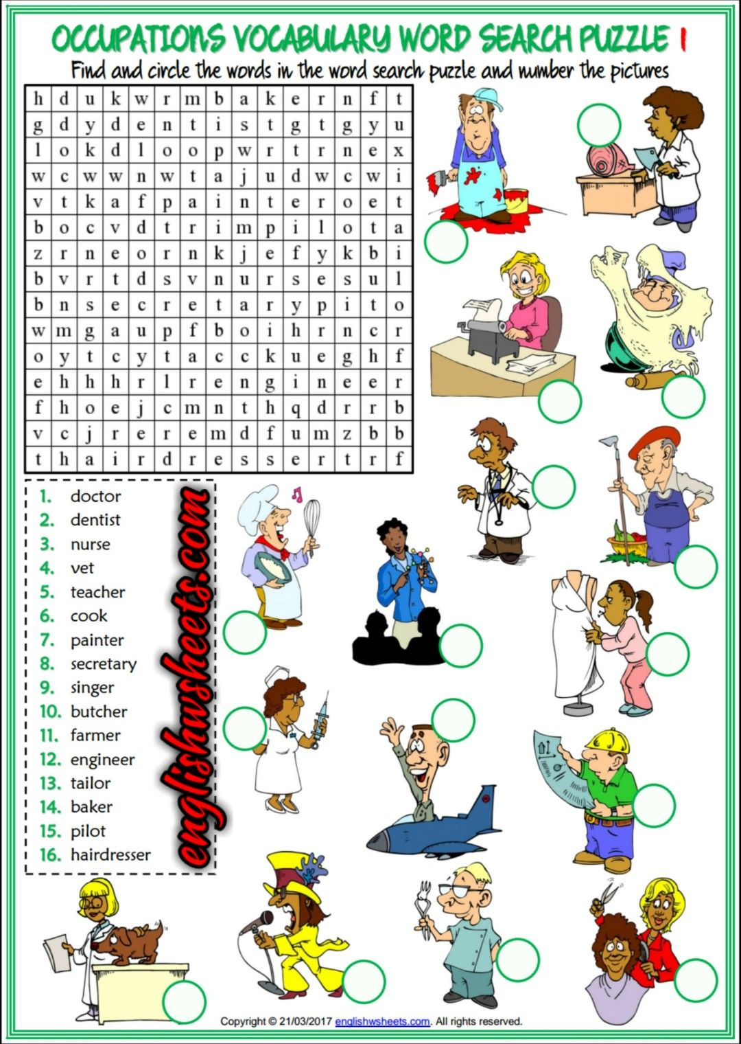 Jobs Occupations Professions Esl Printable Word Search Puzzle Worksheets For Kids