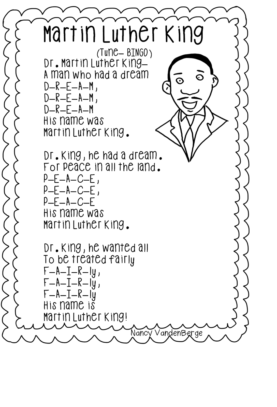 Song Martin Luther King Tune Bingo Free From