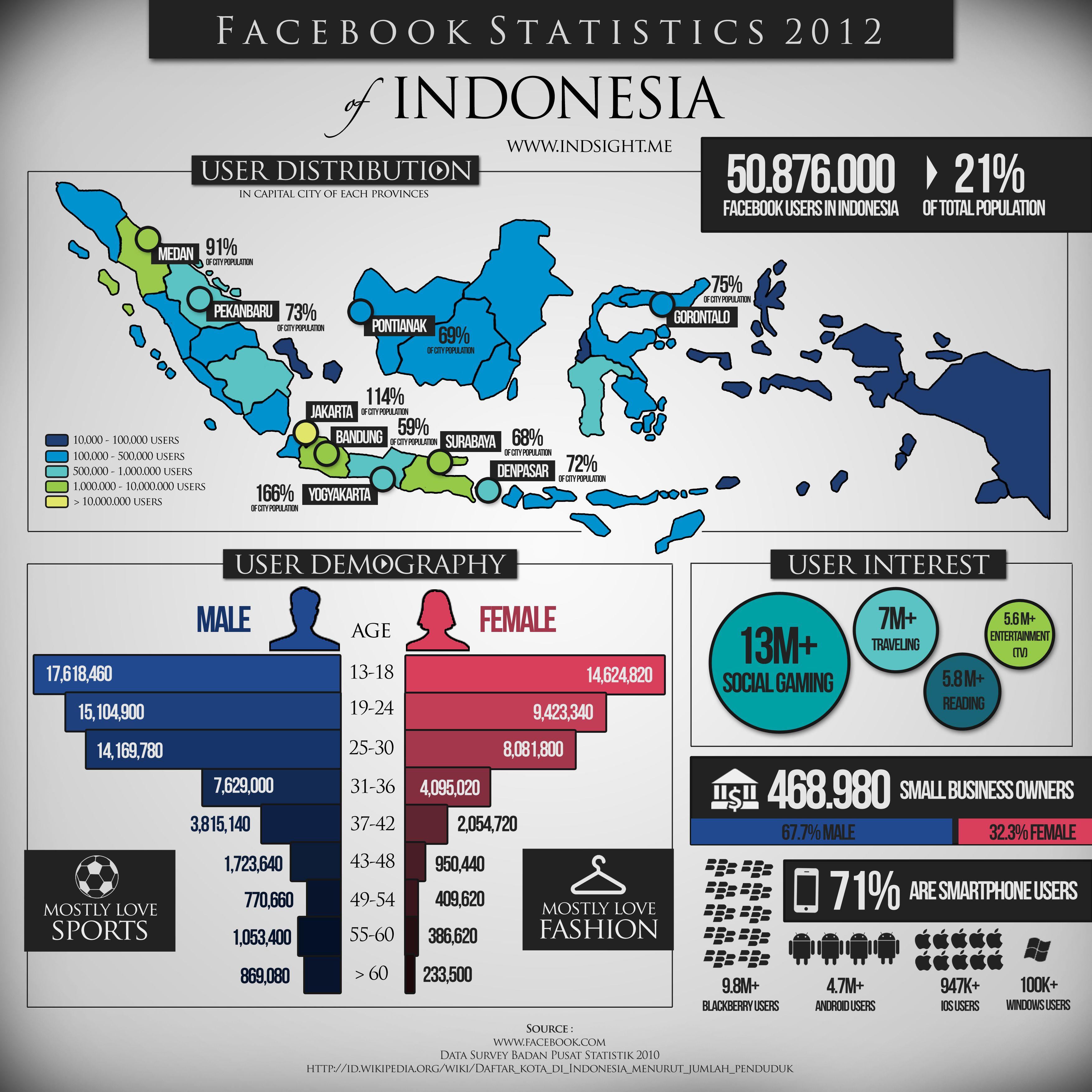 Facebook Statistics 2012 Indonesia infographics