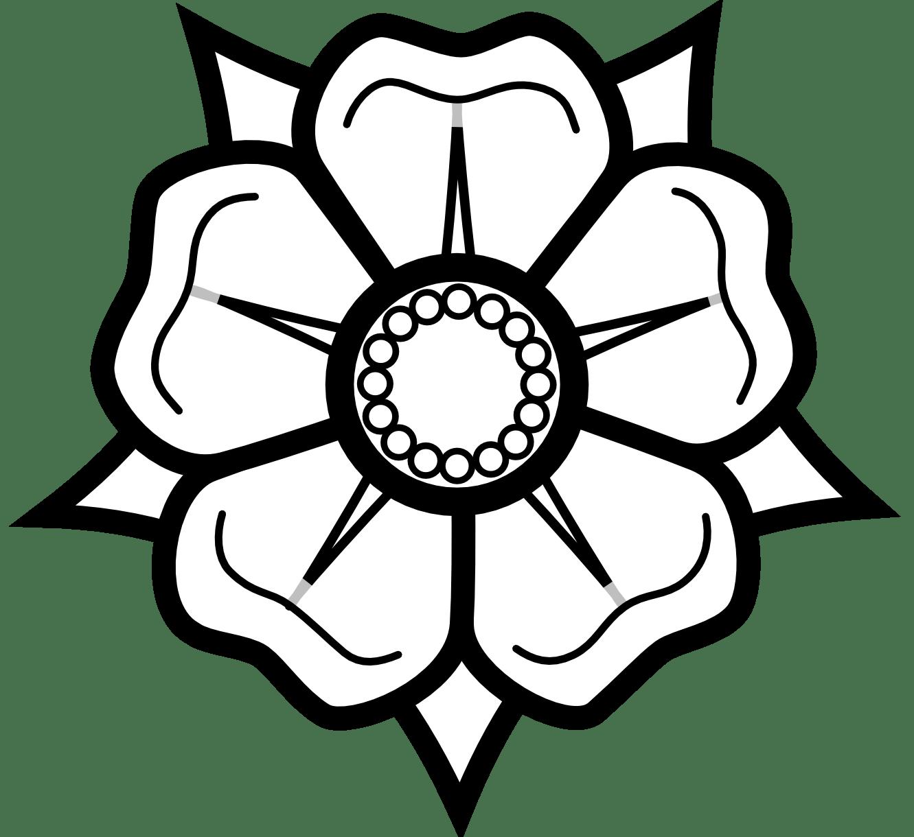 Heraldisch Lippische Rose Black White Line Art Tattoo