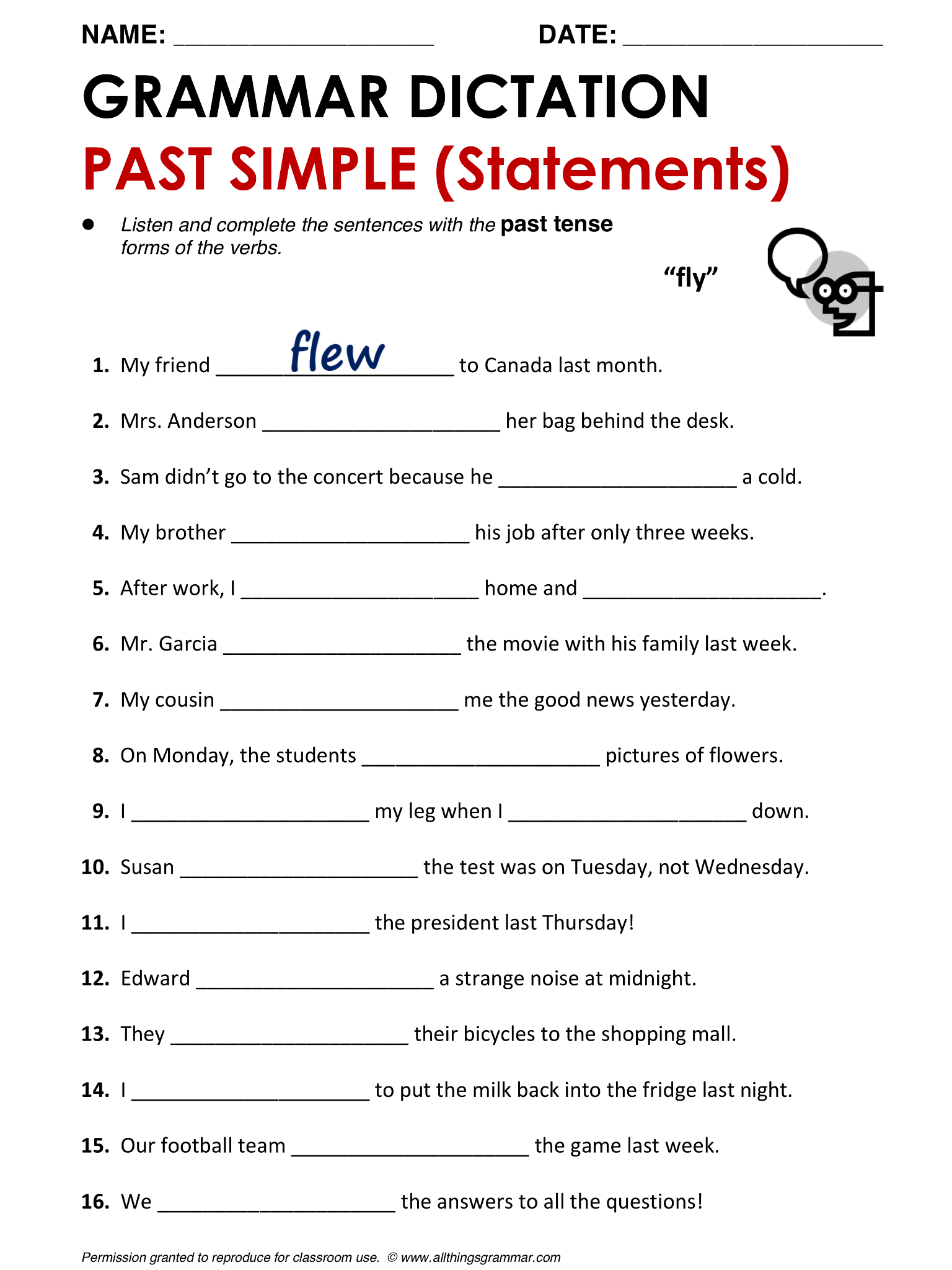 English Grammar Past Simple Lthingsgrammar Past