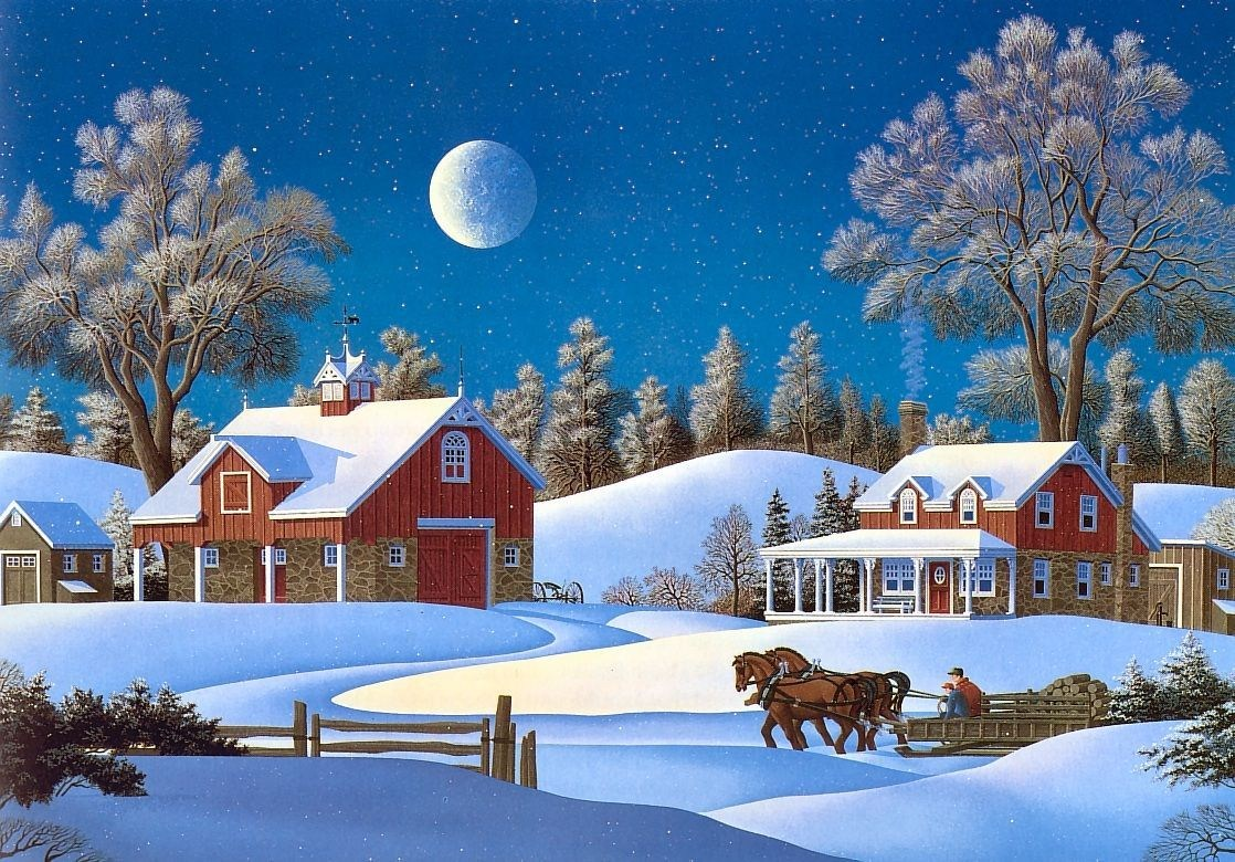 winter farm scenes wallpaper Free Christmas and holiday