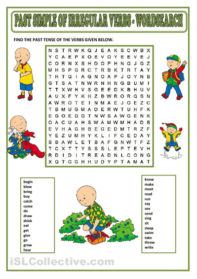 Past simple wordsearch for ESL students. ESL Grammar
