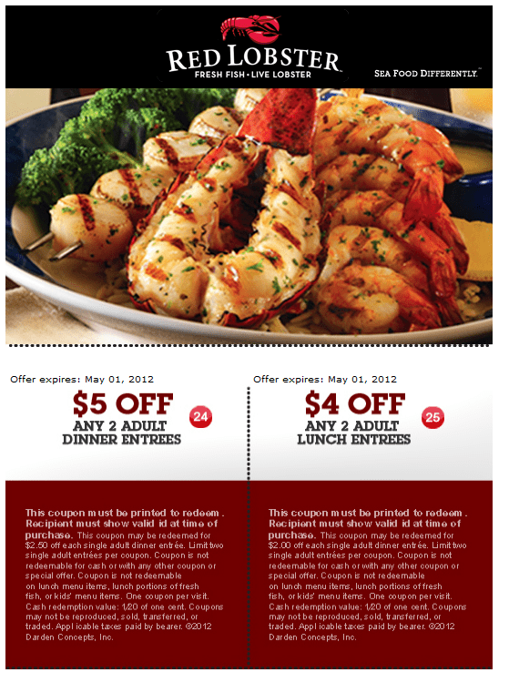 5 Off Any 2 Adult Dinner Entrees + 4 Off Any 2 Adult