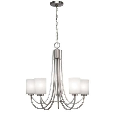Hampton Bay 5 Light Brushed Nickel White Shade Ceiling Chandelier