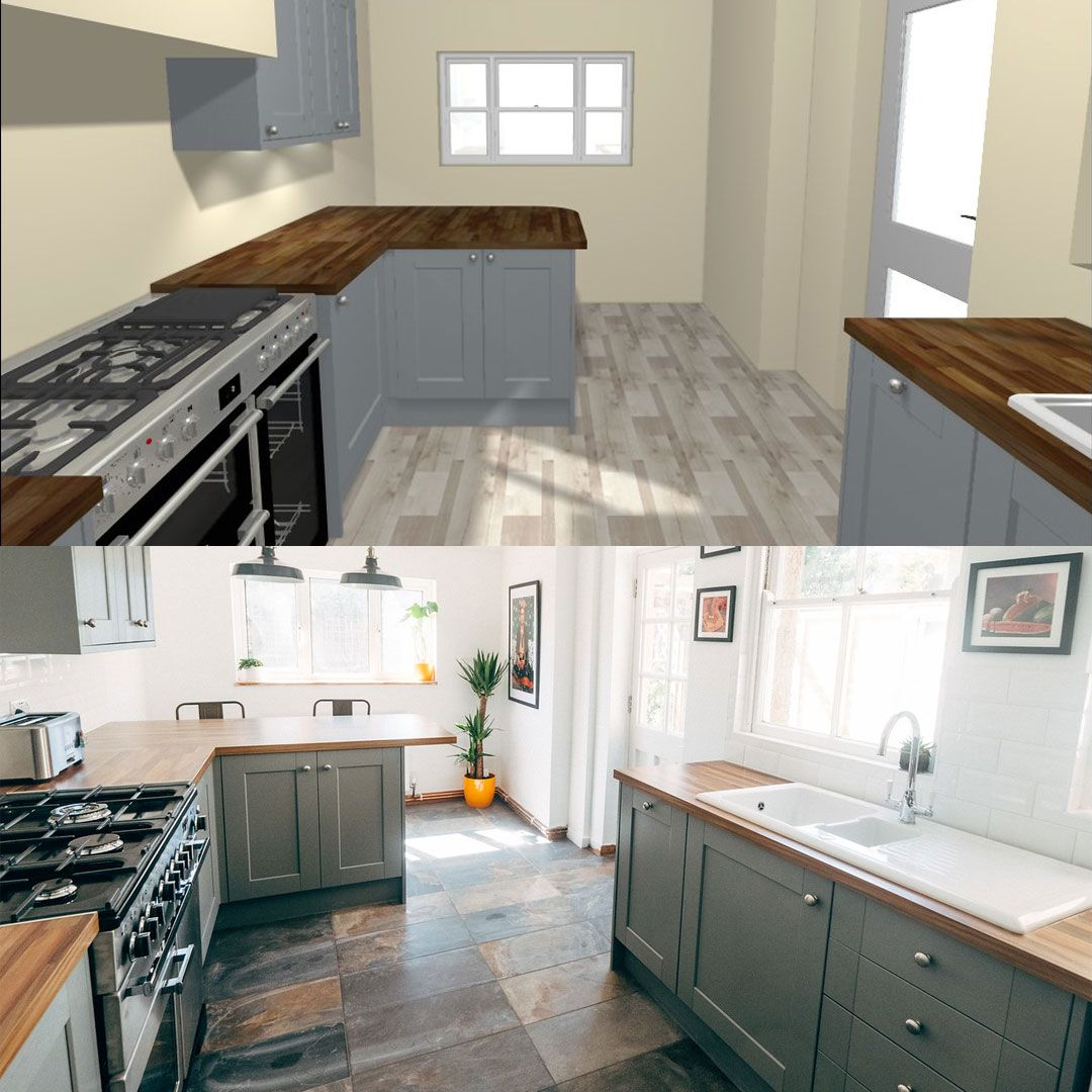 Our Fairford slate grey shaker style kitchen from design