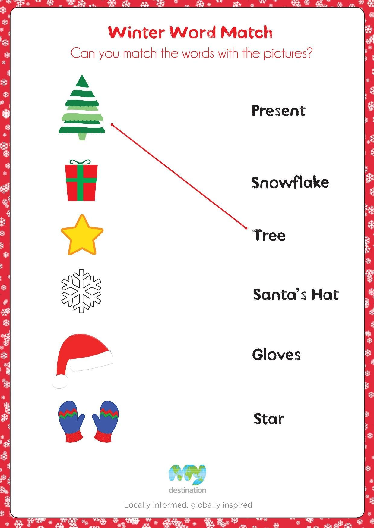 Winter Word Match Download This Puzzle For Free At The Kids Corner