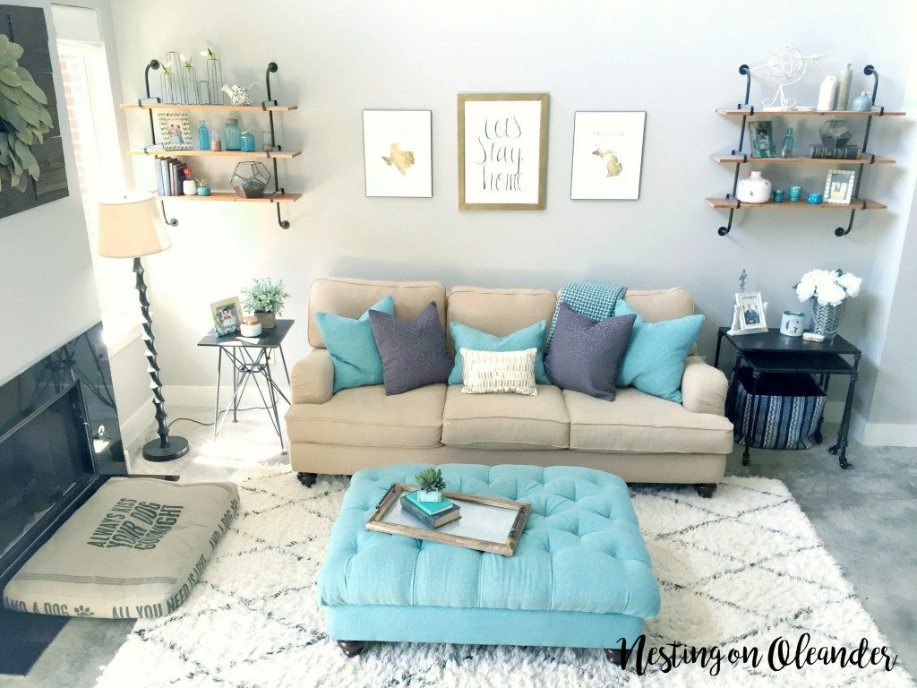 Living Room Turquoise, Pipe Shelving