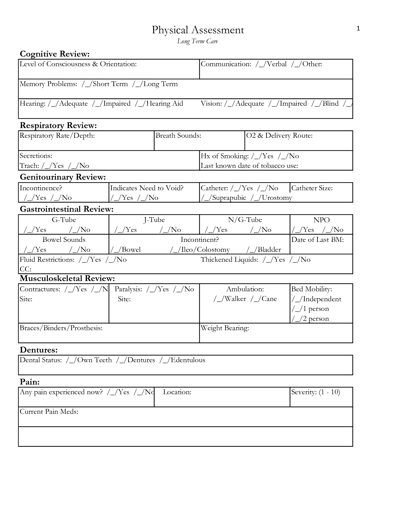 Nursing Physical Assessment Form Templates