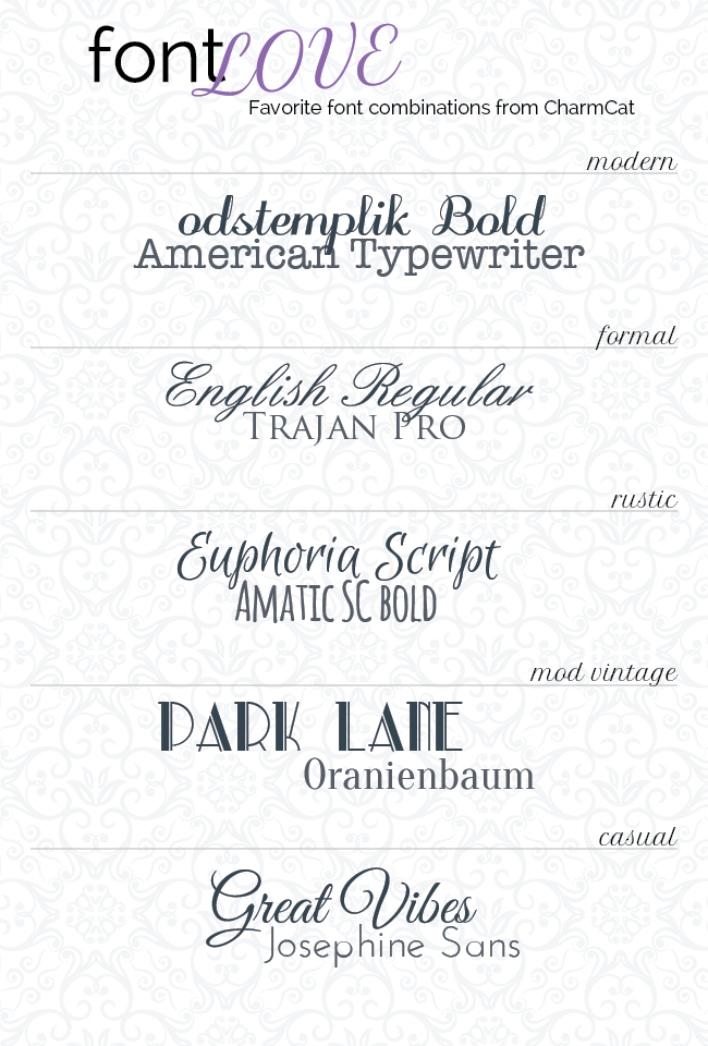 Beautiful Fonts A few of my favorite font combos