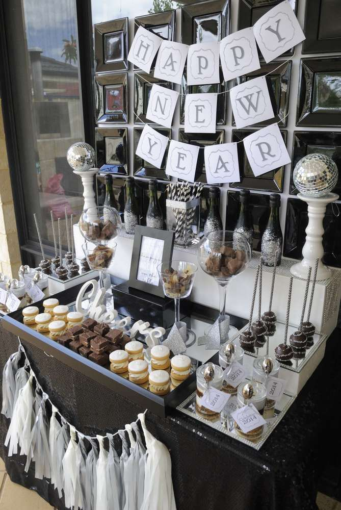 Black,White & silver New Year's Party Ideas