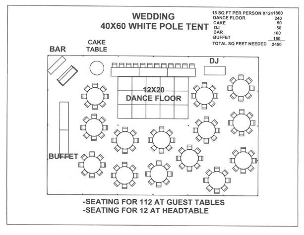 Just For A Seating Plan Layout Visual. Wedding 40x60 White