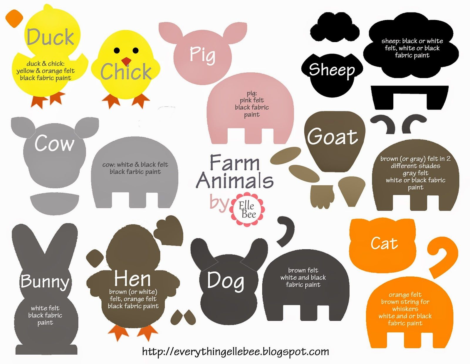 A Little Bit Of Everything Free Printable Farm Animal Template For Felt Board