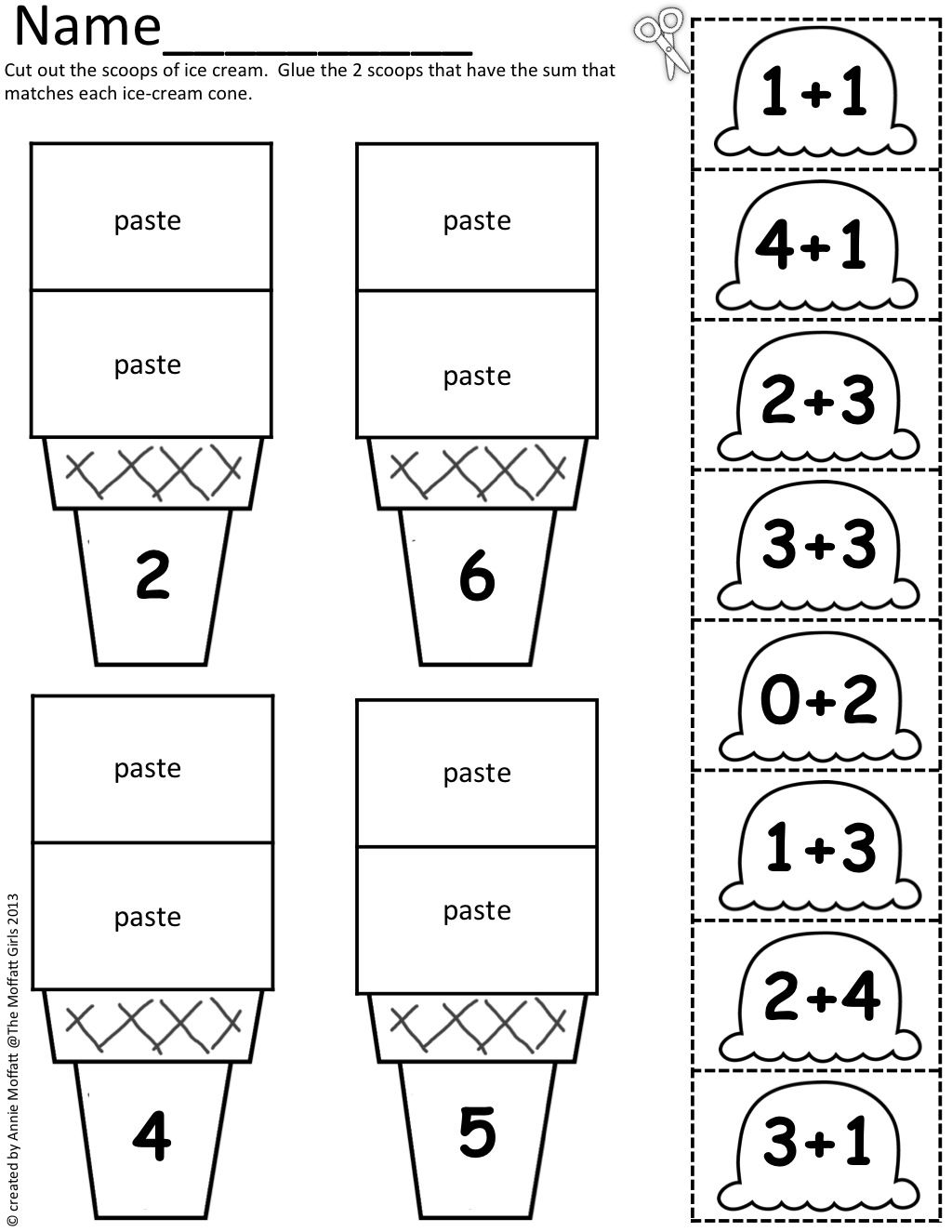 Math Scoops Cut And Paste Addition Up To 20