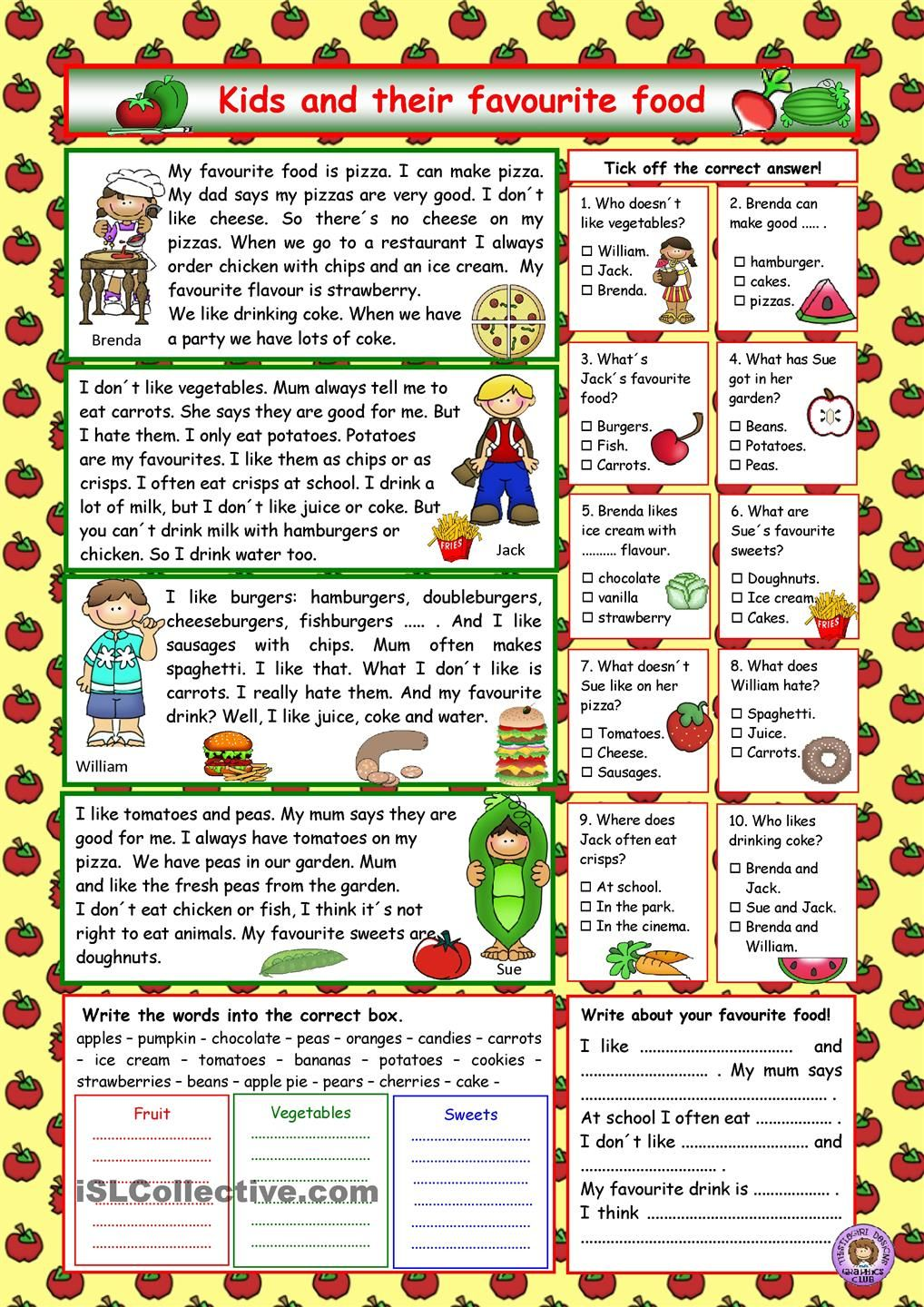 Kids and their favourite food (+Key) worksheets