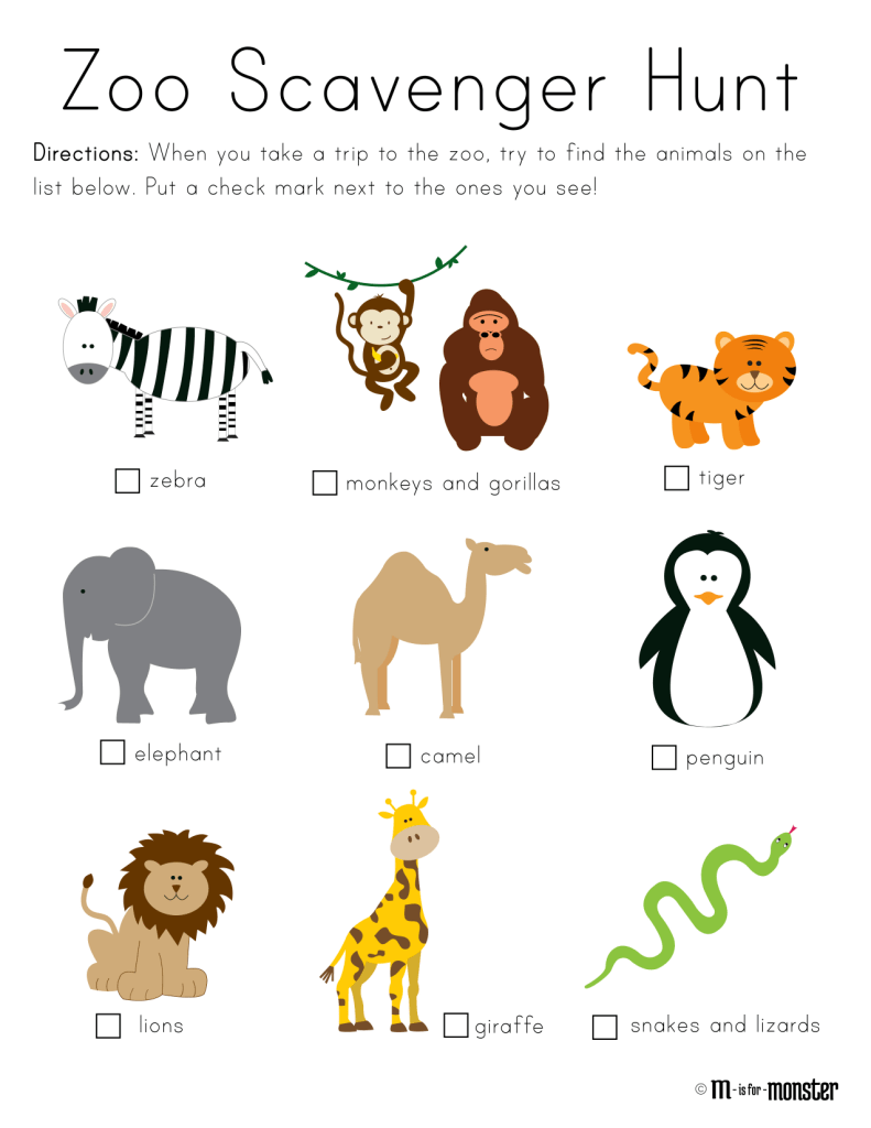 Zoo Scavenger Hunt Printable M is for Monster