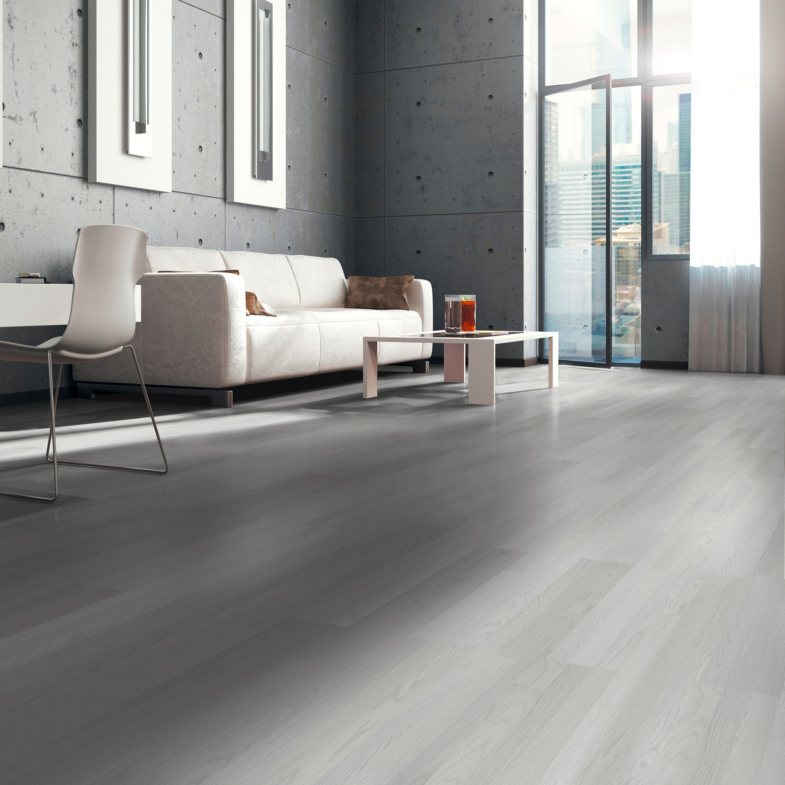 Whitewash Oak White Wood Effect Laminate Flooring 3 m²