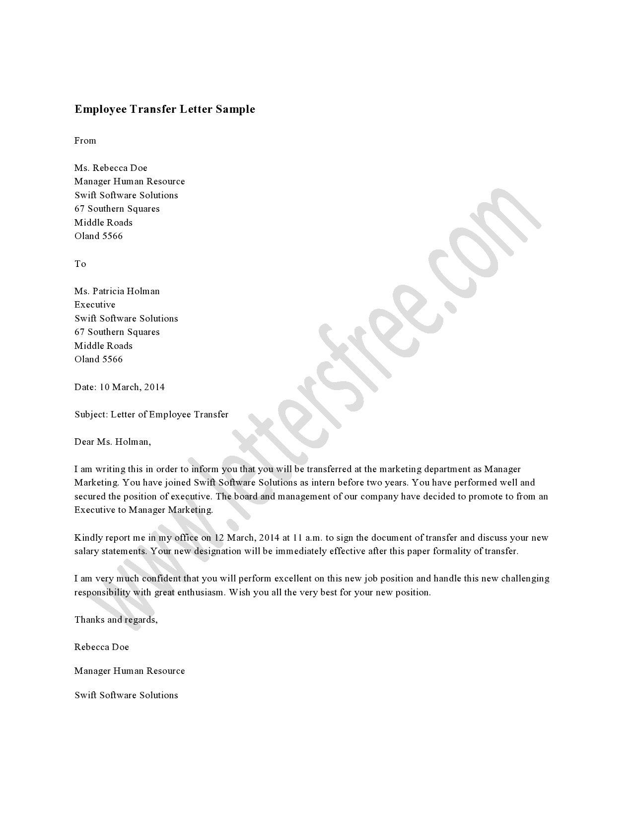 Employee transfer letter is written to notify the employee
