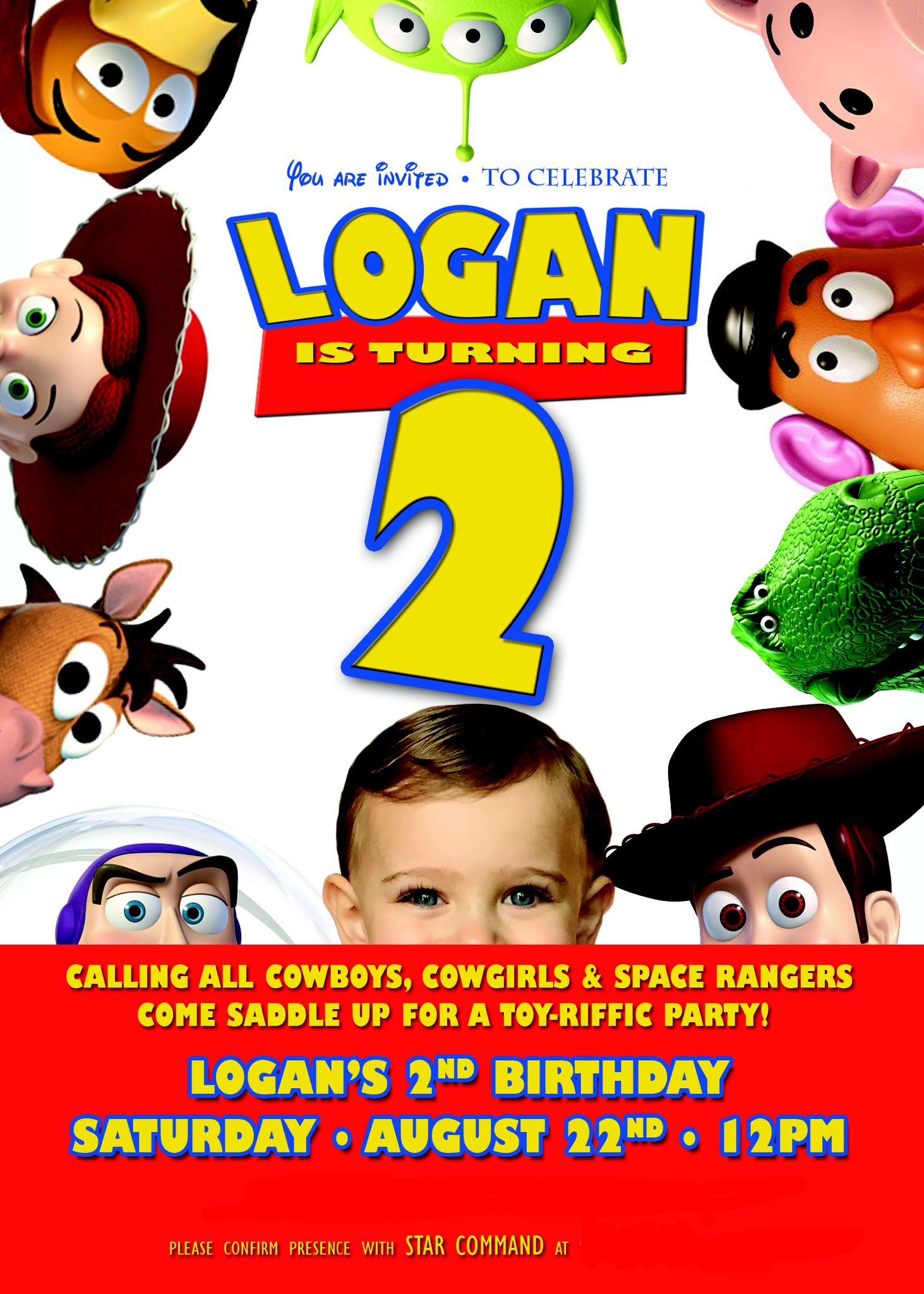 The invitation from Logan's Toy Story party!
