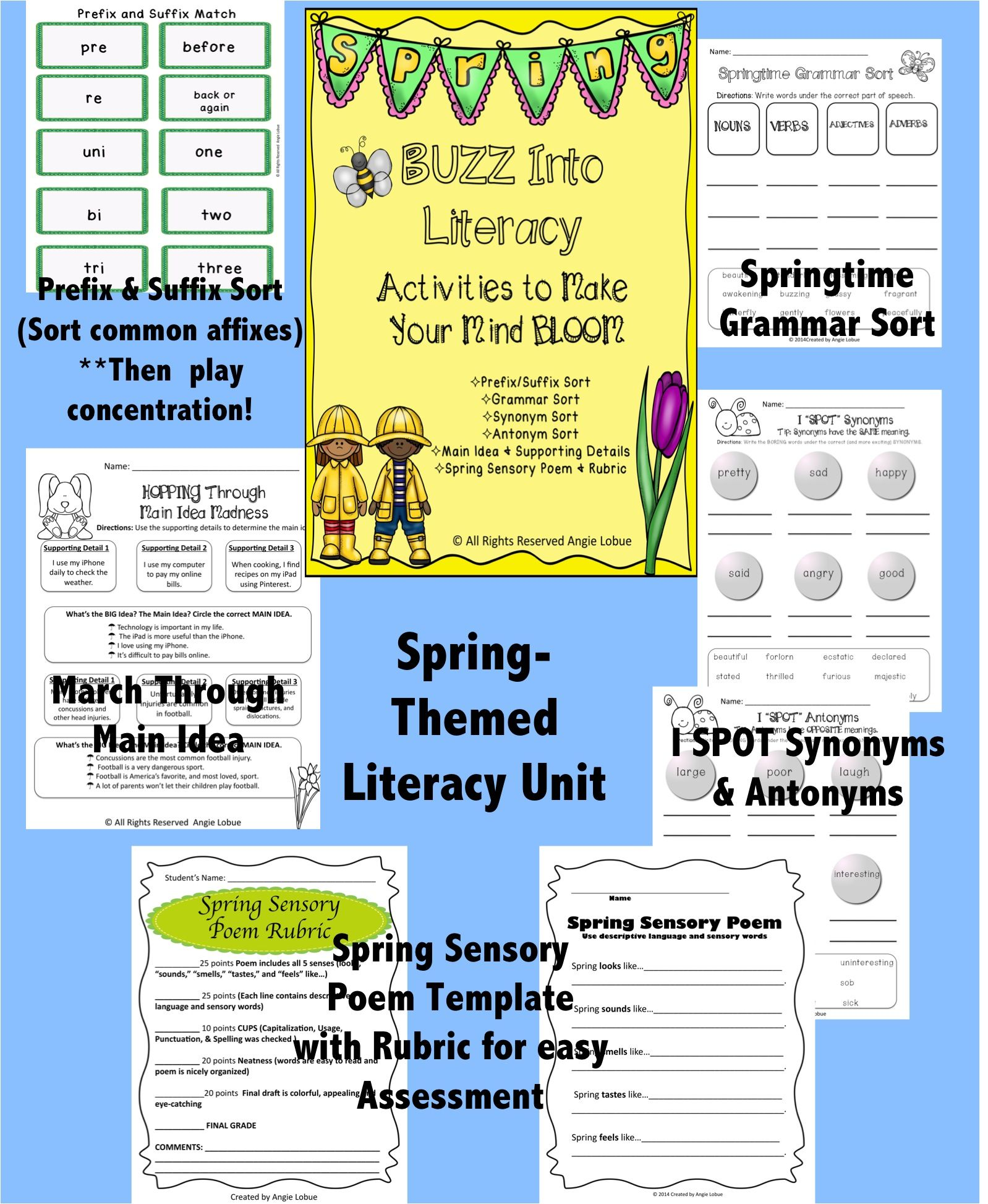 Spring Themed Literacy Unit Reading Vocabulary Grammar Amp Poetry