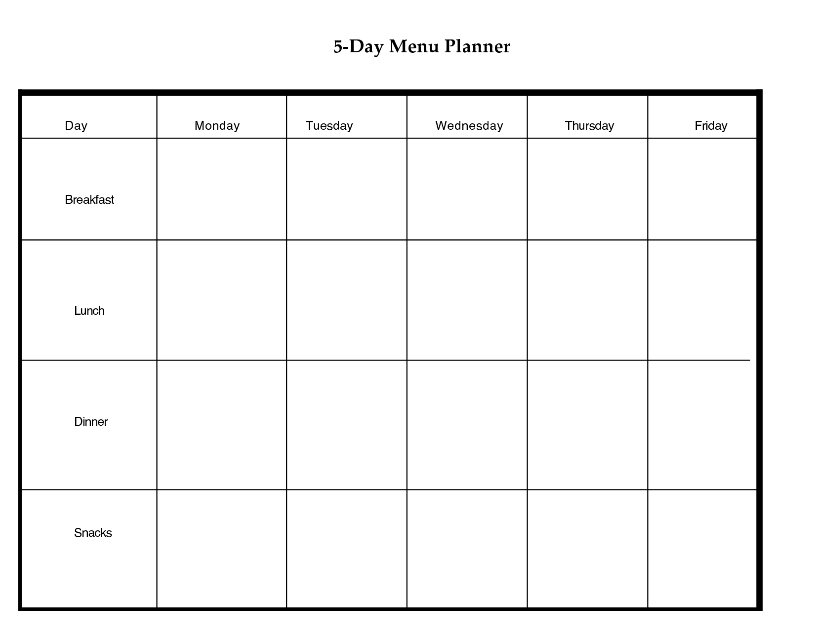 5 Day Weekly Planner Printable