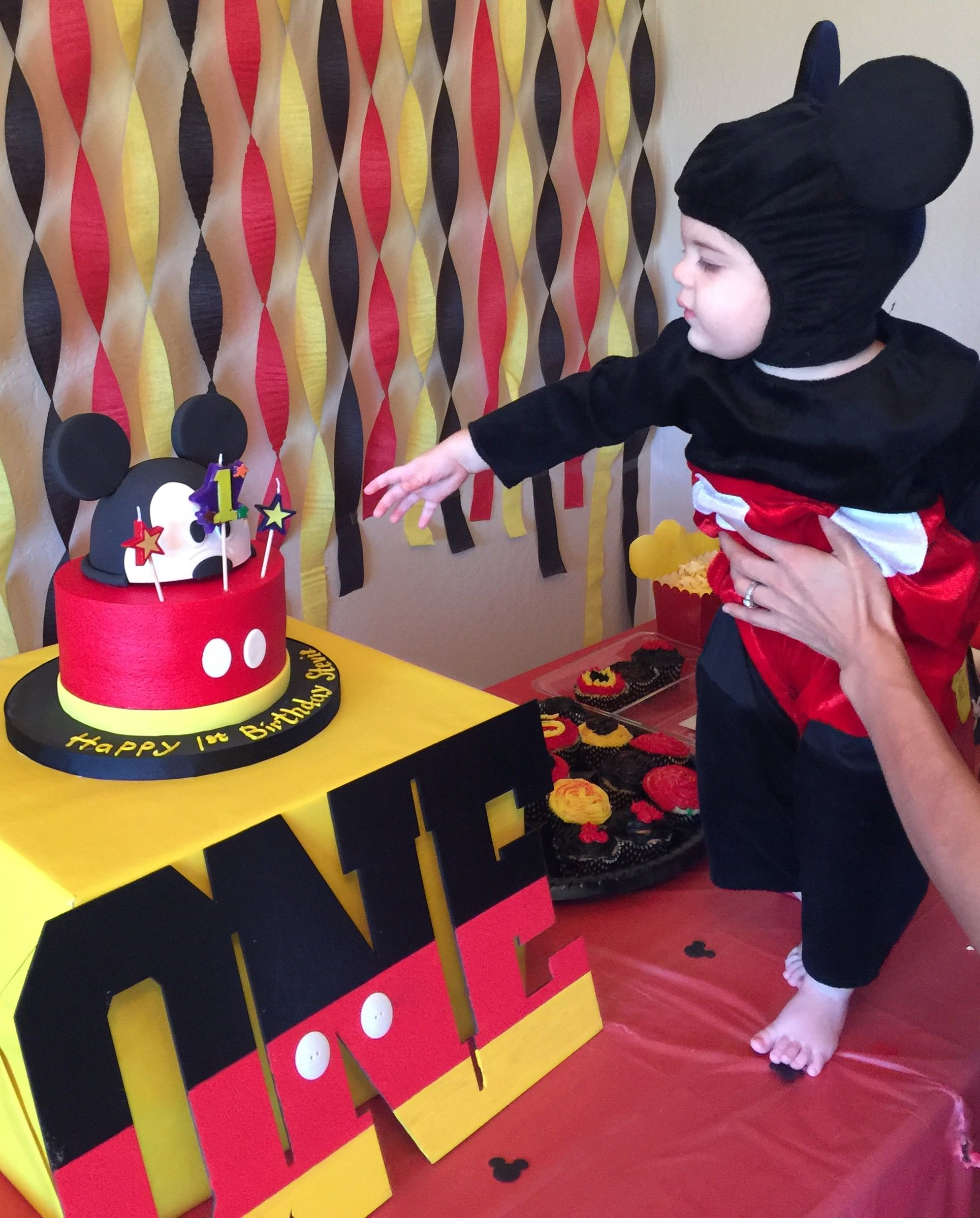 Mickey mouse birthday theme First birthday party Mickey