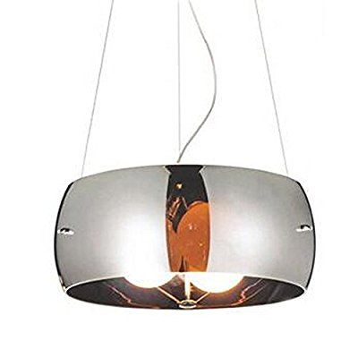 Modern Glass Drum Pendant Light Simple Restaurant Round Chandelier With 3 Lights Sliver