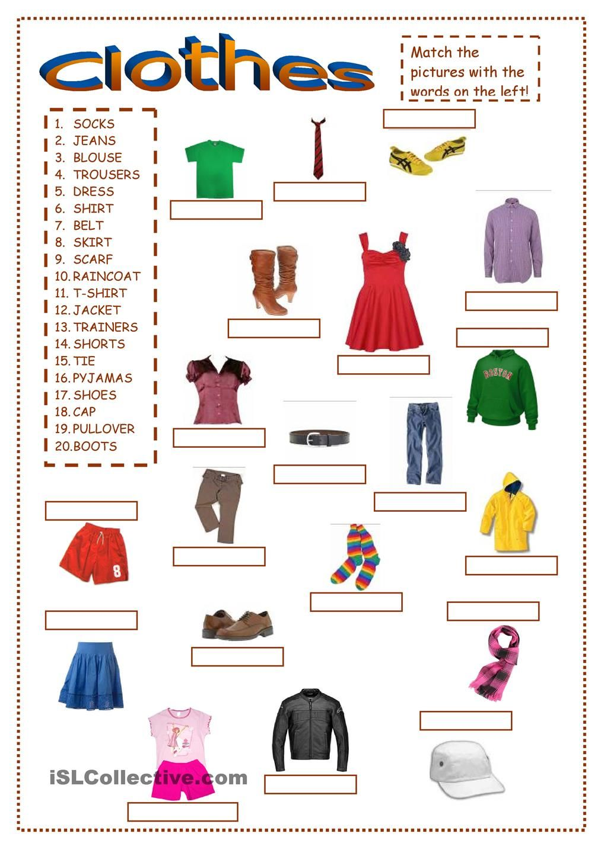 Clothes ex1 clothes Gor Pinterest Clothes, English