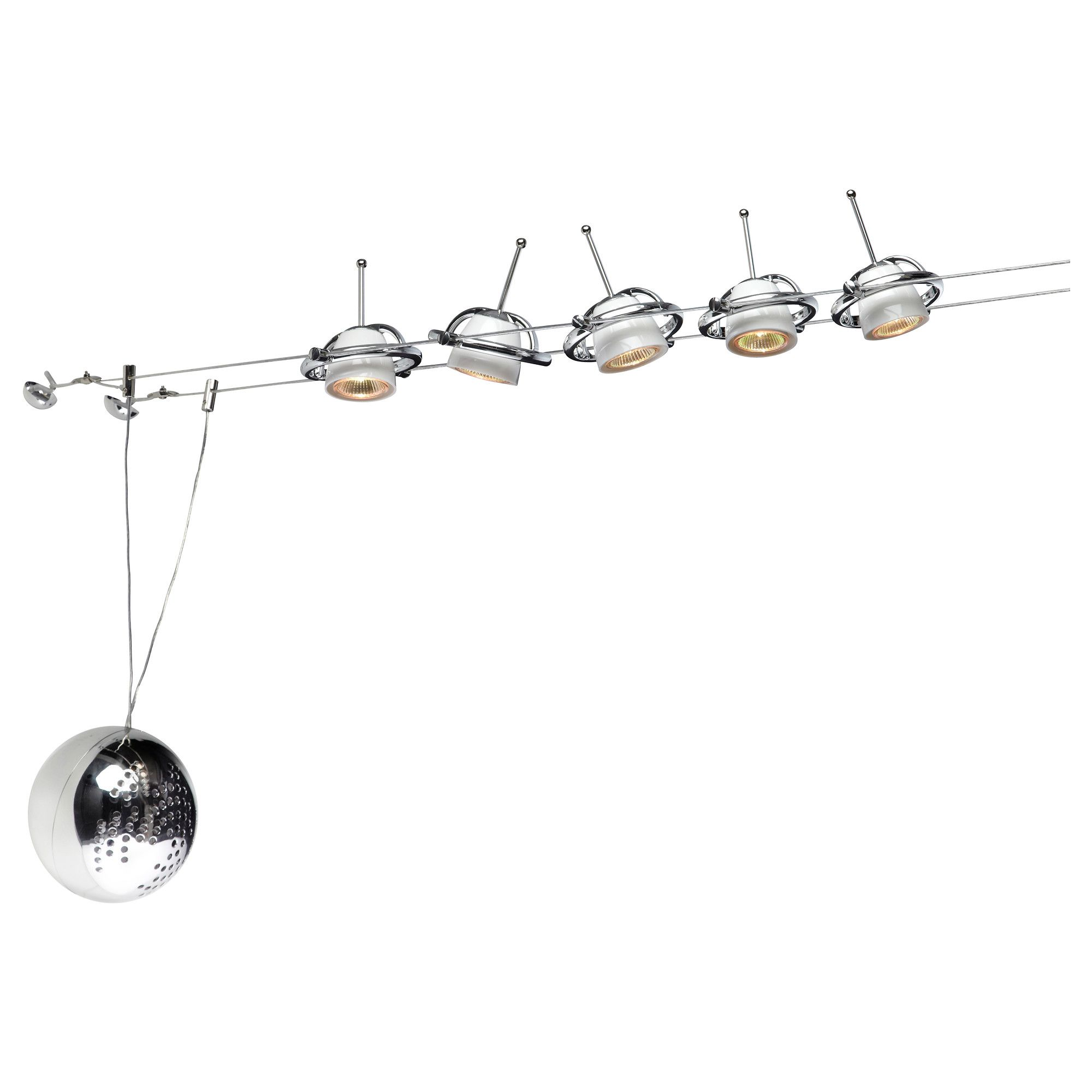 Wire Cable Lighting For Along Beams With Mini Spot