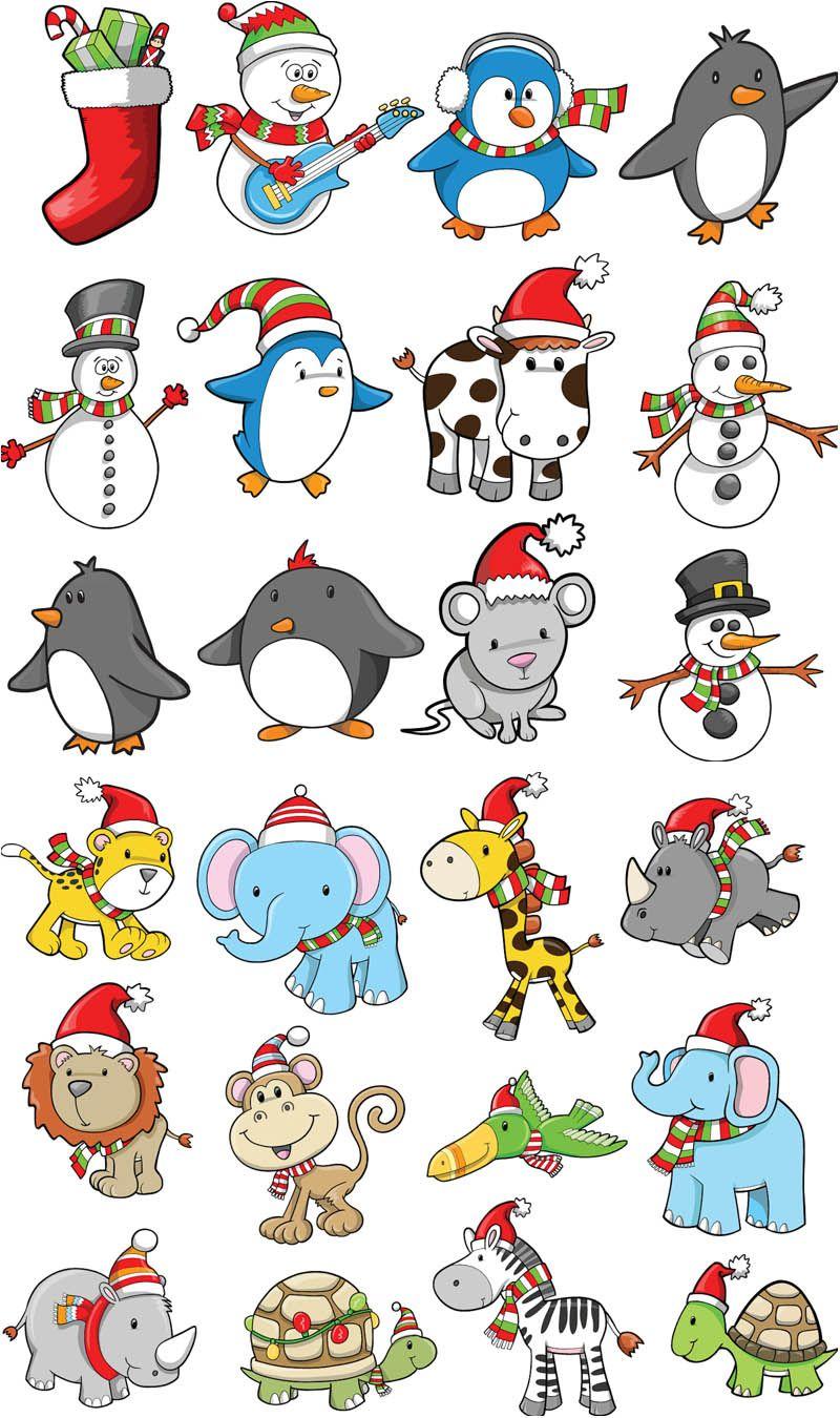 Cartoon Christmas animals vector Free Vector Graphic