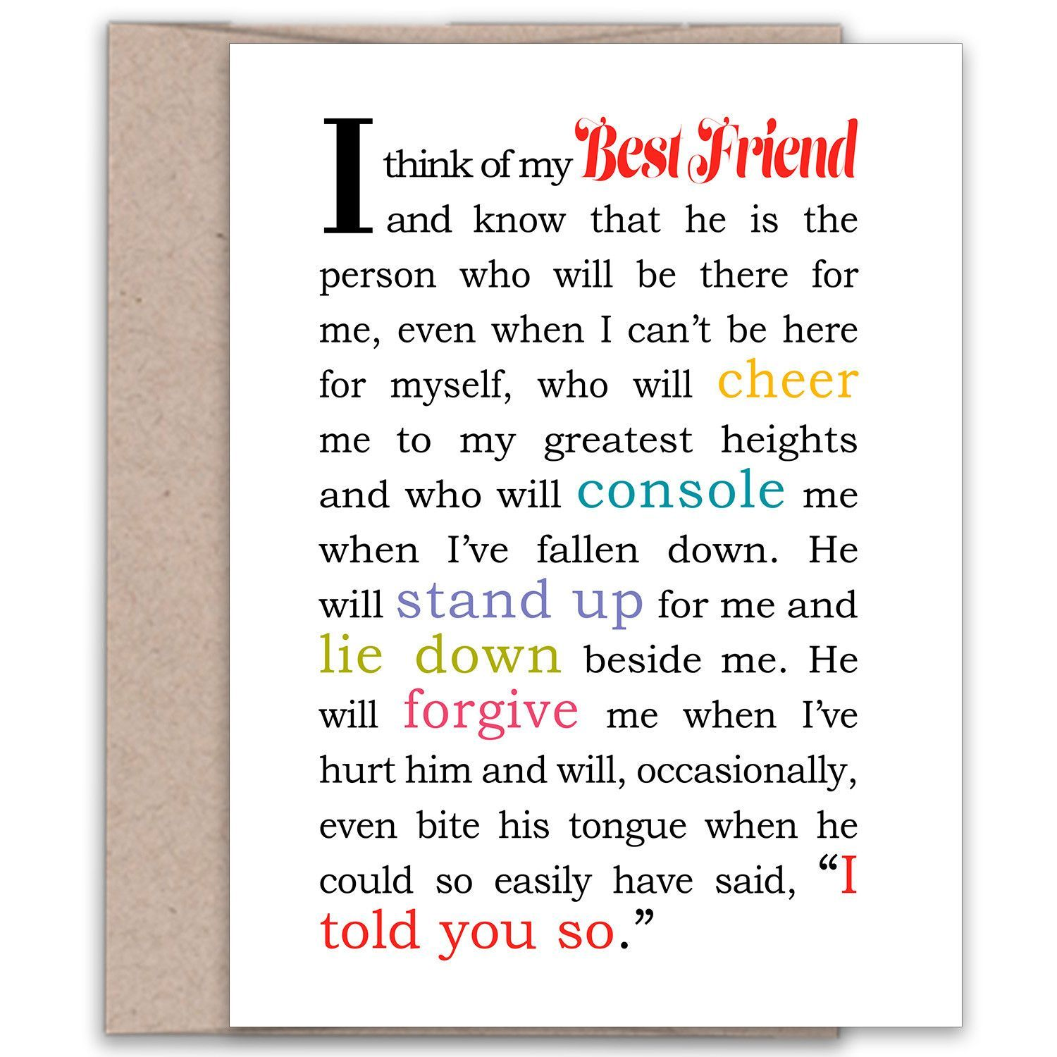 I Think of My Best Friend Male Card for Best Friend