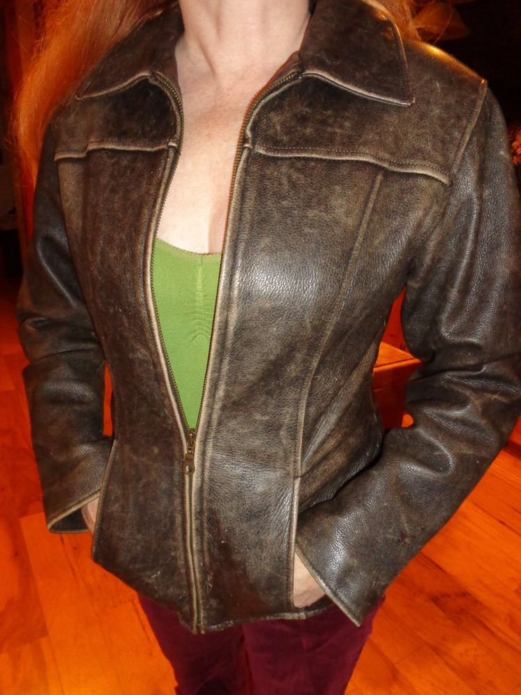 Womens Distressed Brown Leather Biker Jacket Wilson's