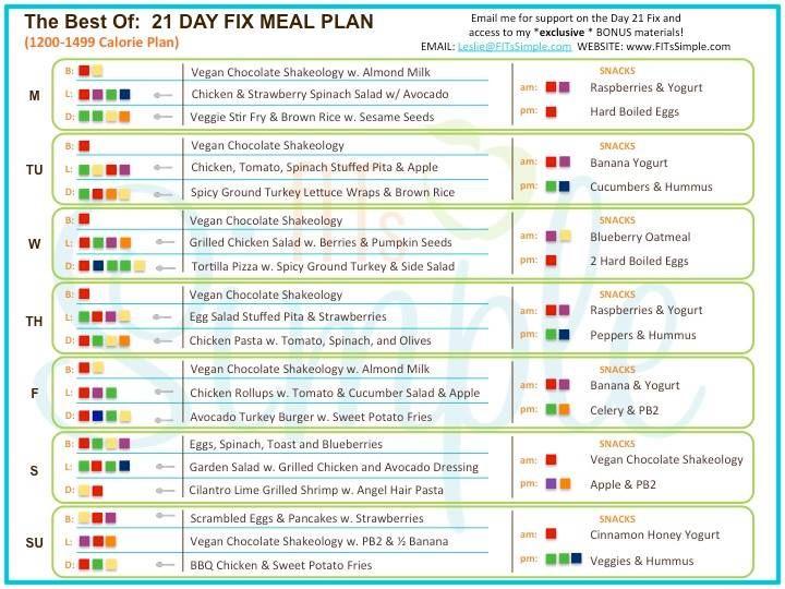 21 Day Fix Diet Menu Plan - todaysinglesux.over-blog.com