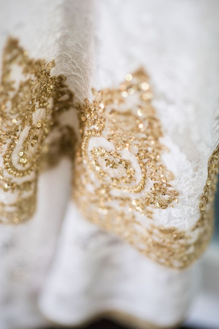 Gold custom made wedding gown | sodazzling.com